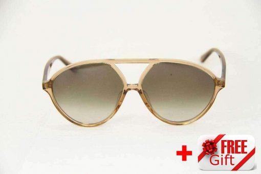 Valentino V728S Light Brown Woman's Sunglasses PC Gradual Gray Lens
