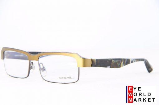 ALAIN MIKLI Eyeglasses AL1056 Gold Metal / Plastic Half Rimless Optical Frames