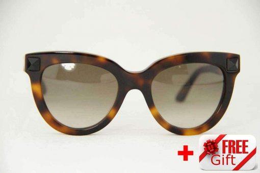 Valentino V722S Brown Cat Eye Women's Sunglasses PC Gradual Brown Lens