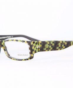 ALAIN MIKLI Eyeglasses AL1048 Green Black Checked Plastic Optical Frames