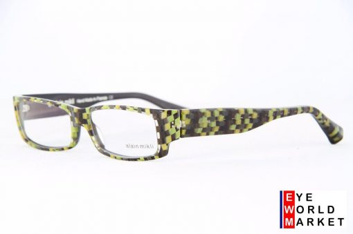 ALAIN MIKLI Eyeglasses AL1048 Green Black Checked Plastic Optical Frames