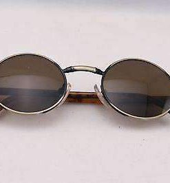 Vintage IXO 375 GOLD BLACK METAL SUNGLASSES BROWN LENS MADE IN FRANCE