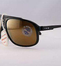Vintage  IXO 466 BLACK SUNGLASSES BROWN FLASH YELLOW LENS