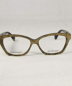 Alexander McQueen AMQ 4268 Cat-Eye Black Gold Eyeglasses