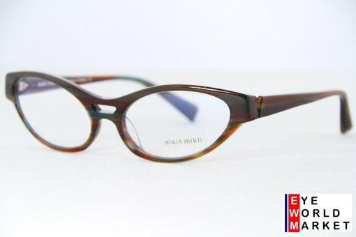 ALAIN MIKLI Eyeglasses AL1215 Dark Brown Striped Optical Frames