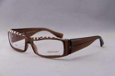 ALAIN MIKLI Eyeglasses AL0753 Brown and White Plastic Optical Frames
