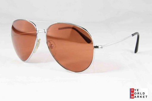 BOURGEOIS F14 Sunglasses Silver Frame Pilot Shape