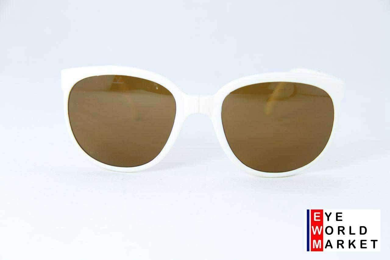 Vintage Vuarnet 002 White Folding Sunglasses PX2000 Brown lens
